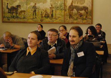 Початок роботи конференції. На фото Г.Хорунжа, Р.Кикта, І.Дудник, Є.Осауленко
